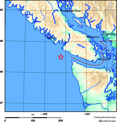 Quake near Ucluelet felt as far away as Metro Vancouver